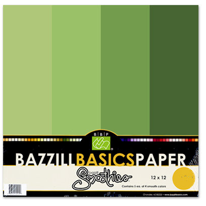 Bazzill Basics - Bazzill Smoothies - 4 Colors - 12x12 Cardstock - Kiwi Crush