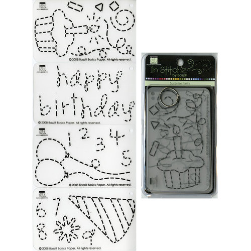Bazzill - In Stitch'z - Cardstock Stitching Template - Surprise Party