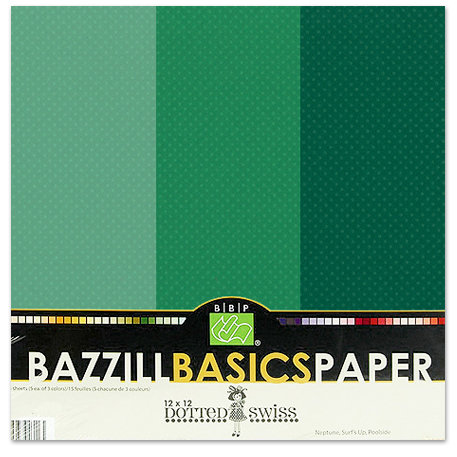 Bazzill - Dotted Swiss - 12 x 12 Cardstock Pack - 15 Sheets - Deep Sea Trio