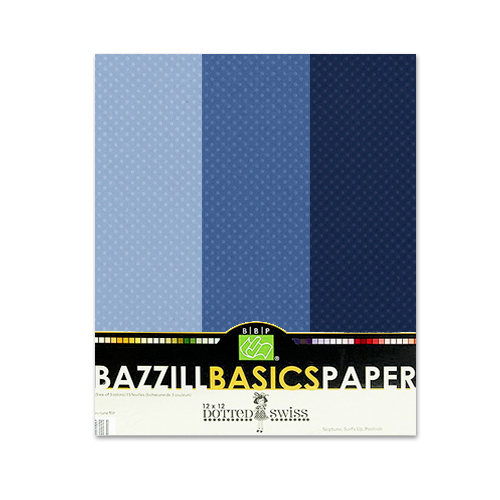 Bazzill - Dotted Swiss - 8.5 x 11 Cardstock Pack - 15 Sheets - Deep Blue Trio