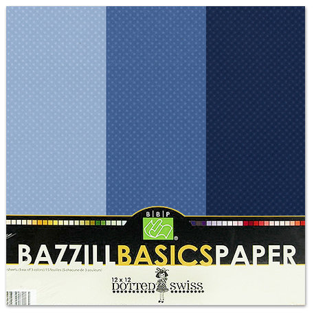 Bazzill - Dotted Swiss - 12 x 12 Cardstock Pack - 15 Sheets - Deep Blue Trio