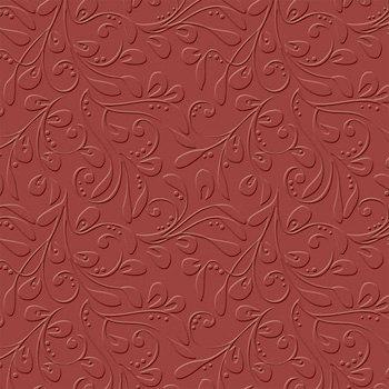 Bazzill - 12 x 12 Embossed Cardstock - Vintage Vines - Ruby Slipper