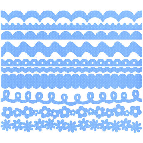 Bazzill Basics - Just The Edge - 12 Inch Cardstock Strips - Dotted Swiss - Rip Tide, CLEARANCE