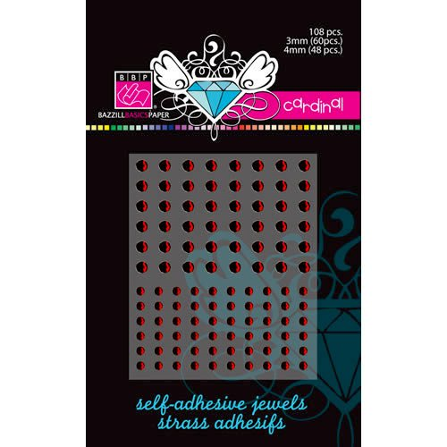Bazzill - Self Adhesive Jewels - 3 mm and 4 mm - Cardinal