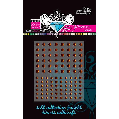 Bazzill Basics - Self Adhesive Jewels - 3 mm and 4 mm - Tangerine Blast, CLEARANCE