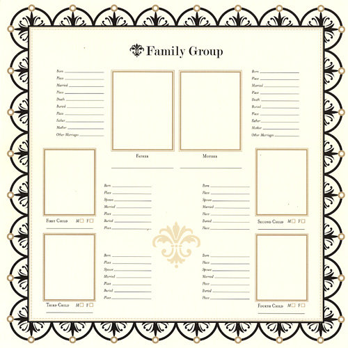 Bazzill Basics - Heritage Collection - 12 x 12 Paper - Family Group Chart 1