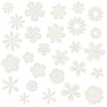 Bazzill Basics - Flower Pot Collection - Shimmer Paper Flowers - Diamond, CLEARANCE