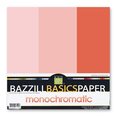 Bazzill - Monochromatic Trio Packs - 12 x 12 - Flamingo