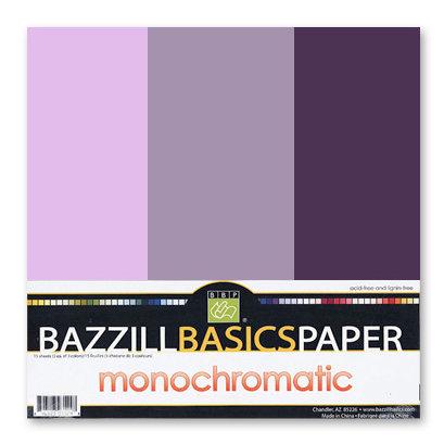 Bazzill - Monochromatic Trio Packs - 12 x 12 - Pansy