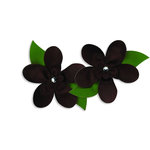 Bazzill Basics - Garden Basics Collection - Fabric Flowers with Jewel Centers - 2.5 Inch Grosgrain - Brown