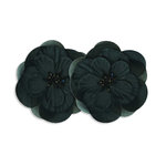 Bazzill Basics - Garden Basics Collection - Fabric Flowers with Beaded Centers - 3 Inch Organza - Black, CLEARANCE