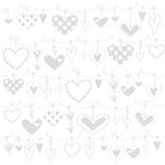 Bazzill - 12 x 12 Glazed Cardstock - String of Hearts - Lily White
