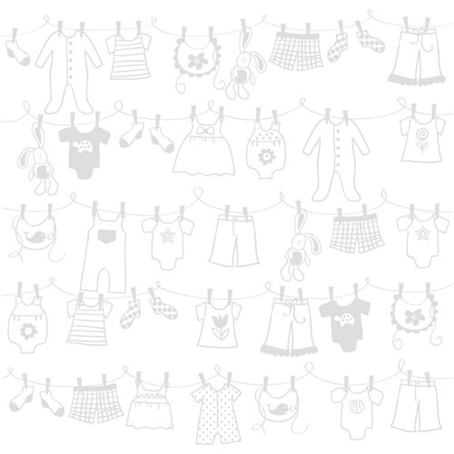 Bazzill - 12 x 12 Glazed Cardstock - Baby Clothes Line - Lily White