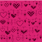 Bazzill - 12 x 12 Glazed Cardstock - String of Hearts - Pink Fairy
