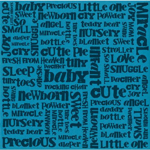 Bazzill - 12 x 12 Glazed Cardstock - Boy Baby Words - Artesian Pool