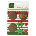 Bazzill - Christmas - Button Stackers - Holly