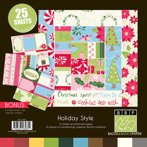 Bazzill Basics - Holiday Style Collection - Christmas - 12 x 12 Assortment Pack