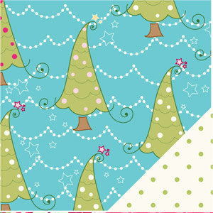 Bazzill - Holiday Style Collection - Christmas - 12 x 12 Double Sided Paper - Whimsy Trees