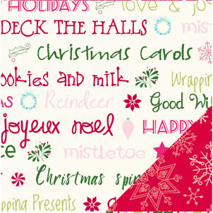 Bazzill Basics - Holiday Style Collection - Christmas - 12 x 12 Double Sided Paper - Holiday Wishes