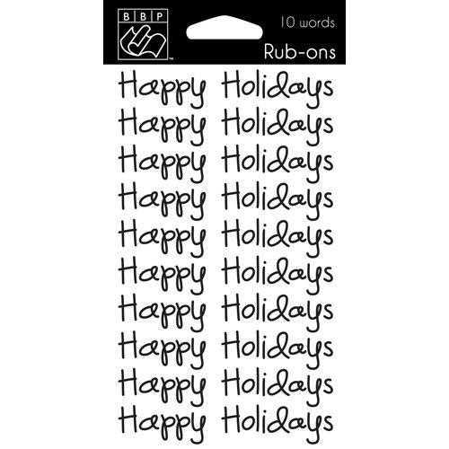 Bazzill - Christmas - Rub Ons - Happy Holidays