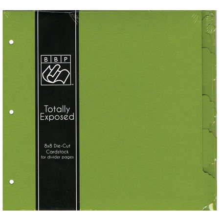 Bazzill Basics - 8 x 8 Cardstock Divider Pages with Tabs - Set of 5 - Intense Kiwi