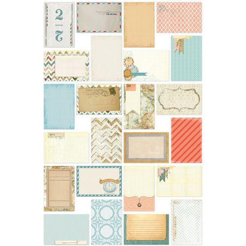 Bazzill - Janet Hopkins - Wayfarer Collection - Lickety Slip - 4 x 6 Journaling Cards