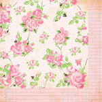 Bazzill - Margie Romney-Aslett - Vintage Marketplace Collection - 12 x 12 Double Sided Paper - Garden Trellis