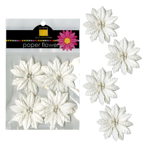 Bazzill - Paper Flowers - 2 Inch Poinsettia - White