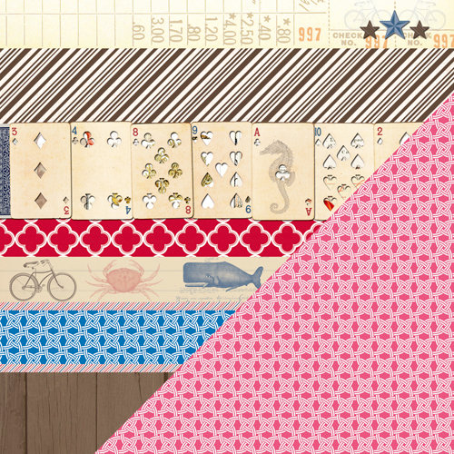 Bazzill Basics - Beach House Collection - 12 x 12 Double Sided Paper - Beach Bits