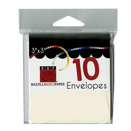 Bazzill Basics - Cards and Envelopes - 10 Pack - 3 x 3 Bracket - Cream Puff