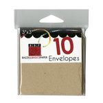 Bazzill Basics - Cards and Envelopes - 10 Pack - 3 x 3 Bracket - Kraft