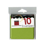 Bazzill - Cards and Envelopes - 10 Pack - 3 x 3 Scallop - Intense Kiwi