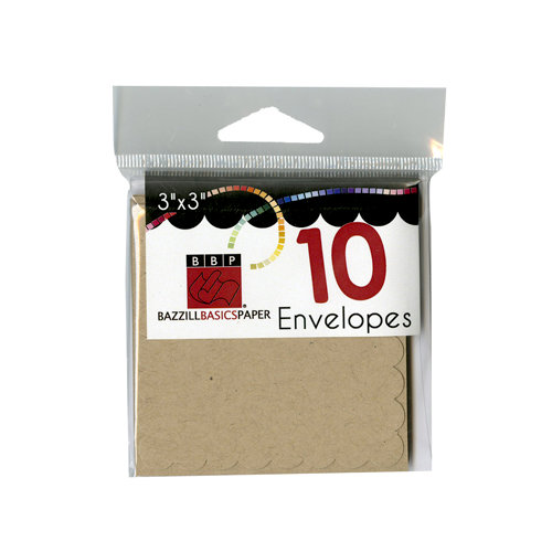 Bazzill - Cards and Envelopes - 10 Pack - 3 x 3 Scallop - Kraft