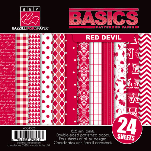 Bazzill Basics - Basics Collection - 6 x 6 Assortment Pack - Red Devil
