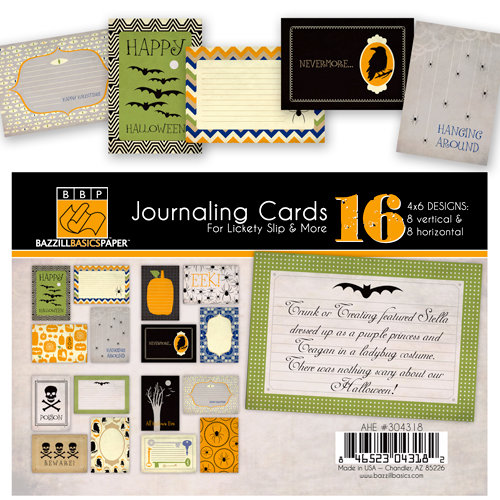 Bazzill Basics - All Hallows Eve Collection - Halloween - Lickety Slip - 4 x 6 Journaling Cards