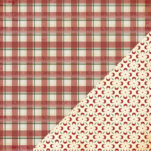 Bazzill - Margie Romney-Aslett - Believe Collection - Christmas - 12 x 12 Double Sided Paper - Plaid Ruler