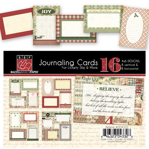 Bazzill Basics - Margie Romney-Aslett - Believe Collection - Christmas - Lickety Slip - 4 x 6 Journaling Cards