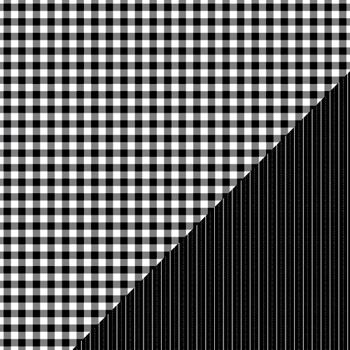 Bazzill Basics - Basics Collection - 12 x 12 Double Sided Paper - Licorice - Picnic Plaid