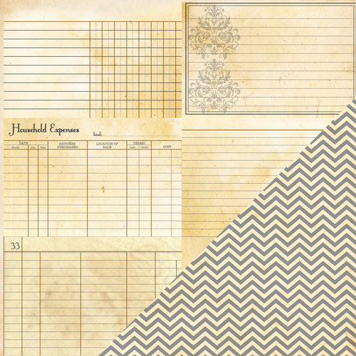 Bazzill - Heritage Collection - 12 x 12 Double Sided Paper - Note Cards Horizontal