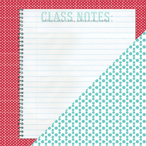 Bazzill Basics - School Days Collection - 12 x 12 Double Sided Paper - Class Notes
