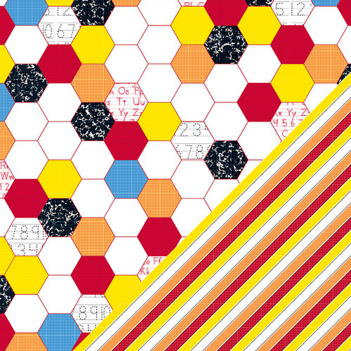 Bazzill Basics - School Days Collection - 12 x 12 Double Sided Paper - Hexagon