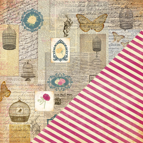 Bazzill Basics - Miss Teagen Sue Collection - 12 x 12 Double Sided Paper - Floral Collage