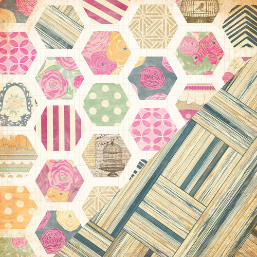 Bazzill Basics - Miss Teagen Sue Collection - 12 x 12 Double Sided Paper - Teagen's Quilt