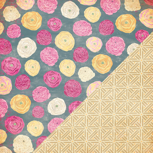 Bazzill Basics - Miss Teagen Sue Collection - 12 x 12 Double Sided Paper - Ranunculus
