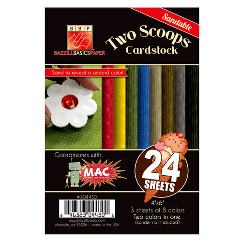 Bazzill Basics - Two Scoops Collection - Mac - 4 x 6 Sandable Cardstock Pack