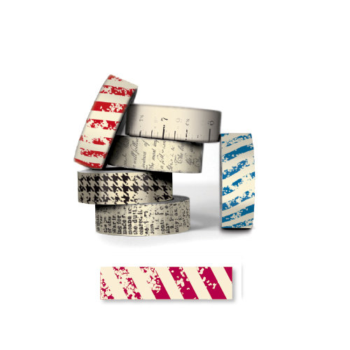 Bazzill - Antique Paper Tape - Blush Red Stripe