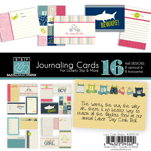 Bazzill Basics - Lucy's Crab Shack Collection - Lickety Slip - 4 x 6 Journaling Cards