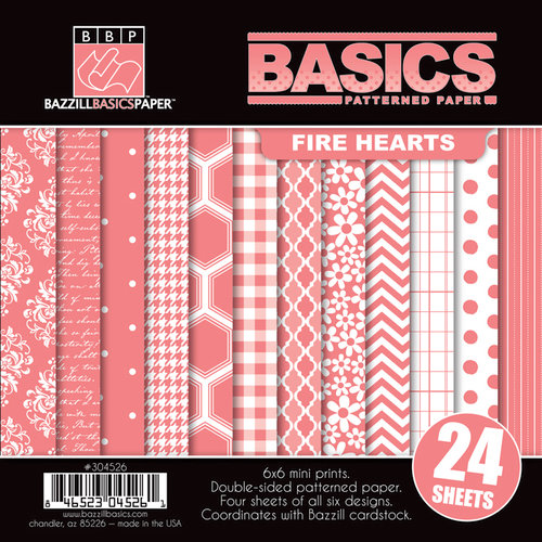 Bazzill Basics - Basics Collection - 6 x 6 Assortment Pack - Fire Hearts