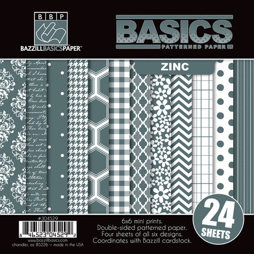 Bazzill Basics - Basics Collection - 6 x 6 Assortment Pack - Zinc