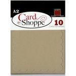 Bazzill - Card Shoppe - Cards and Envelopes - 10 Pack - A2 Scallop - Peanut Cluster